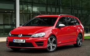 Picture red, Volkswagen, Parking, universal, 2015, Golf R Estate