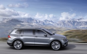 Picture clouds, mountains, grey, movement, Volkswagen, Tiguan