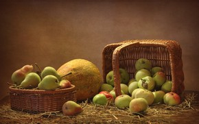 Picture basket, apples, fruit, pear, still life