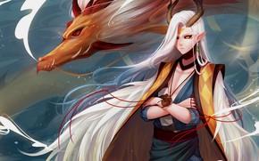 Picture fantasy, dragon, guy, Onmyouji