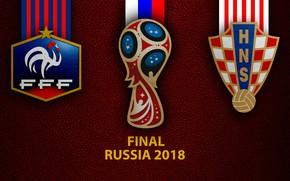 Picture wallpaper, sport, logo, football, Final, FIFA World Cup, Russia 2018, France vs Croatia