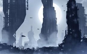 Picture Figure, The city, Future, Skyscrapers, City, Landscape, Art, Fiction, Landscapes, Digital Art, TacoSauceNinja, by TacoSauceNinja