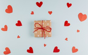 Picture background, gift, hearts, Valentine's day