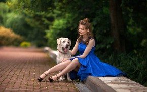 Picture trees, pose, Park, model, portrait, dog, makeup, dress, hairstyle, shoes, brown hair, legs, the sidewalk, …