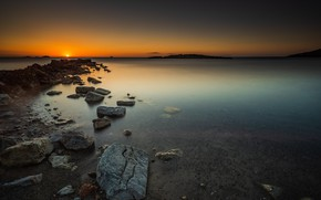 Picture sea, sunset, stones, shore