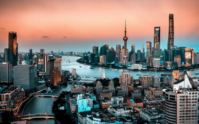 Picture night, the city, Shanghai