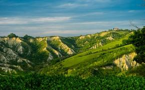 Picture greens, the sky, the sun, house, hill, Italy, Brisighella