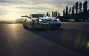 Picture dawn, 911, Porsche, track, GT3, Boss, Cup, the glare of the sun