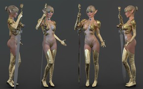 Picture girl, weapons, model, view from different sides