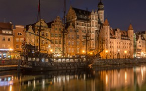 Picture river, ship, building, home, Poland, night city, frigate, Poland, Old Town, Gdansk, Old town, Gdansk, …