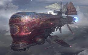Picture fantasy, airship, science fiction, clouds, sci-fi, cyberpunk, digital art, artwork, fantasy art, Steampunk, sails, futuristic