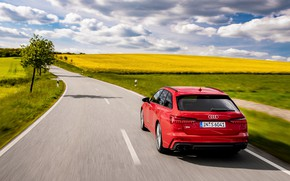 Picture road, red, Audi, field, universal, 2019, A6 Avant, S6 Before