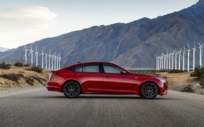 Picture red, Cadillac, sedan, in profile, four-door, 2020, CT5-V