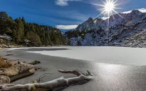 Picture forest, mountains, lake, Andorra, Andorra, The Pyrenees, Moreno Lake, Estany Moreno, Encamp, Lake Moreno, Encamp, …