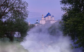 Picture trees, landscape, nature, fog, pond, morning, temple, dome, Gregory Beltsy, the village of Bogolyubovo