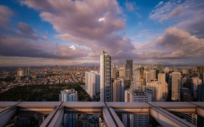 Picture the sky, clouds, the city, building