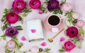 Picture flowers, tea, book, Asian Buttercup
