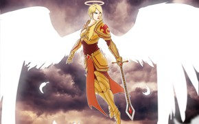 Picture clouds, angel, warrior, girl, sword