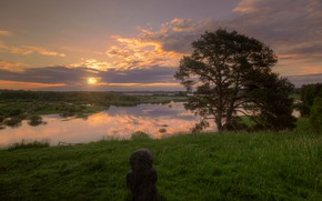 Picture summer, the sky, trees, sunset, river, Gordeev Edward