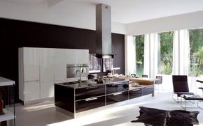 Picture style, furniture, Windows, interior, chair, technique, kitchen, pictures, curtains, design, modern, kitchen, household