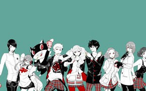 Picture the game, anime, art, characters, blue background, Person 5, Persona 5