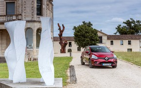 Picture auto, red, the building, Renault, Clio