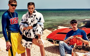 Picture sea, look, girl, pose, model, coat, guys, Vogue, Bella Hadid
