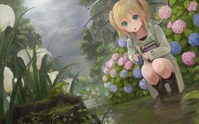 Picture flowers, rain, frog, umbrella, garden, girl, flowerbed
