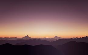 Picture Sunset, Minimalism, Hills, Landscape