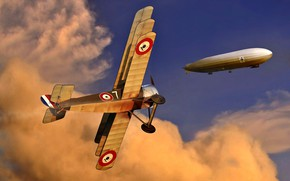 Picture Clouds, The airship, German, WWI, Sopwith Triplane, The first World war, Fighter-Triplane