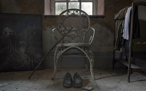 Picture cane, chair, shoes, naturalism