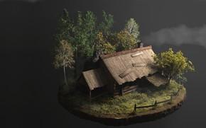 Picture autumn, art, house, Thomas Marian, Old Hut 2.0