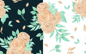 Picture flowers, background, blue, leaves, peonies, seamless