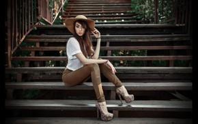 Picture look, girl, face, pose, model, hair, jeans, hat, hands, slim, brunette, ladder, shoes, steps, girl, …