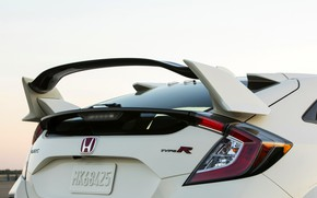 Picture white, wing, spoiler, Honda, feed, hatchback, the five-door, 2019, aerodynamic elements, Civic Type R, 5th …