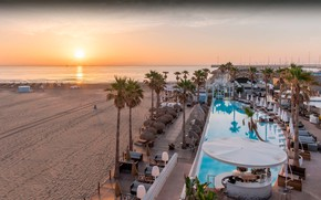 Picture sea, sunset, palm trees, pool, the hotel, Spain, Valencia, Marina Beach Club