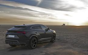 Picture beach, sunset, Lamborghini, 2018, crossover, Urus
