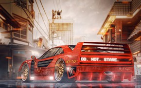 Picture Auto, Machine, Style, City, Ferrari, Tokyo, Japan, Red, Art, Neon, Concept Art, Science Fiction, Cyberpunk, …