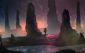 Picture Figure, Warrior, Landscape, Art, Fiction, Landscapes, Digital Art, TacoSauceNinja, by TacoSauceNinja, o Wander On