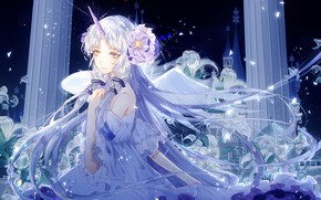 Picture night, lights, magic, Lily, unicorn, columns, vocaloid, Stardust, white dress, Vocaloid, flower in hair, unicorn, …