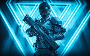 Picture light, pose, future, rendering, weapons, fiction, triangles, warrior, art, costume, helmet, male, blue background, defender, …