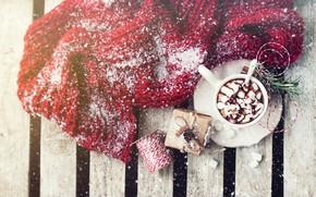 Picture winter, snow, hot, chocolate, scarf, wood, decor, marshmallows, Valeria Maksakova
