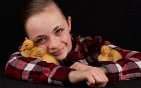 Picture chickens, portrait, girl