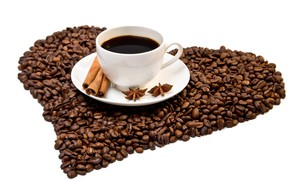 Picture heart, coffee, grain, Cup, cinnamon