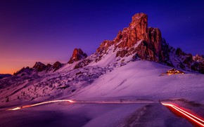 Picture winter, road, the sky, light, snow, mountains, night, lights, house, blue, rocks, lilac, the slopes, …