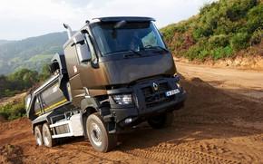 Picture vegetation, tent, Renault, body, the rise, primer, dump truck, triaxial, Renault Trucks, K-series