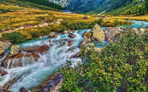 Picture mountains, river, stones, valley, Alps, Italy, the bushes, Italy, Alps, Trentino, Trentino, Val di Fumo, …