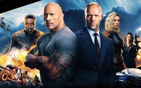 Picture action, poster, Dwayne Johnson, Jason Statham, Dwayne Johnson, Idris Elba, Idris Elba, Jason Statham, Vanessa …