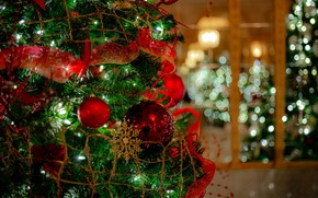 Picture decoration, balls, tree, New year, garland, bokeh