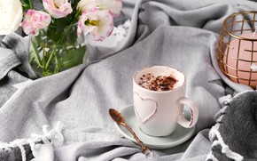 Picture coffee, chocolate, bouquet, Cup, plaid, Myfoodie